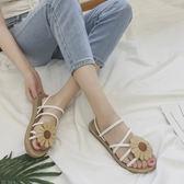【雙11折300】太陽花朵露趾時尚平底涼鞋舒適軟底沙灘