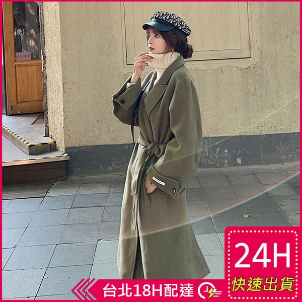 【現貨免運】梨卡 - Hand Made【手工製】加厚仿羊毛呢中長版繫帶雙排扣毛呢西裝外套風衣AR143