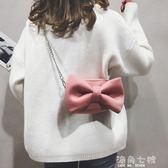 搞怪小包包搞怪小包包女新款可愛蝴蝶結少女側背包韓版百搭鏈條單肩小包 海角七號