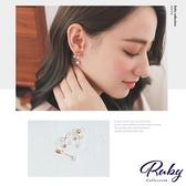 耳環 韓國直送‧珍珠水鑽蝴蝶結後扣式耳環-Ruby s 露比午茶