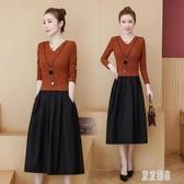 大碼遮肚連身裙新款秋季連身裙胖妹妹顯瘦假兩件長洋裝減齡 XN9230【東京潮流】