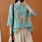 中大尺碼T恤 復古中國風苧麻減齡氣質印花襯衫女春新款短款中式漢服盤扣上衣夏