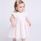 短袖洋裝 Dave Bella 小童 大童 粉色網紗拼接刺繡短袖洋裝 春夏洋裝 DB6943