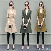 中大尺碼風衣 3XL女中長款2018新款秋季休閒韓版西裝領修身收腰工裝外套 XY7261【KIKIKOKO】