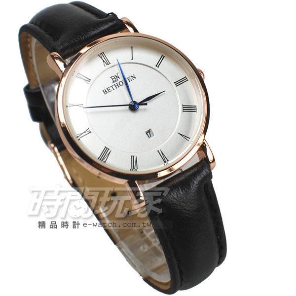 BETHOVEN 簡約輕薄時尚防水手錶 流行腕錶 學生錶 女錶 玫瑰金電鍍x黑 BE1045黑小