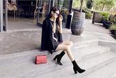 靴子 短靴女高跟鞋彈力尖頭中筒粗跟絨面馬丁靴黑色女靴子  瑪麗蘇