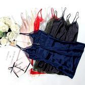 蕾絲吊帶睡裙女夏性感女人睡衣絲質度假旅行情調修身打底裙   初見居家