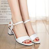 新款粗跟一字扣帶露趾高跟女士涼鞋百搭小碼羅馬中跟女鞋  卡布奇諾