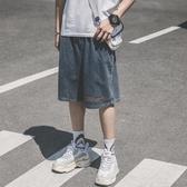 休閒短褲牛仔短褲男夏季薄款百搭寬鬆直筒五分褲港風復古帥氣休閒中褲 玩趣3C