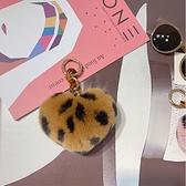 毛毛球鑰匙扣心形包包掛飾鑰匙掛件毛絨女士【聚寶屋】