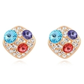 水晶耳環 925純銀耳針式-彩色鑲鑽生日情人節禮物女飾品6色73bd185【時尚巴黎】