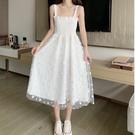 網紗洋裝 網紗白色小雛菊吊帶裙女夏顯瘦氣質森系甜美連身裙超仙小清新裙子-Ballet朵朵