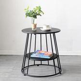 歐式創意簡約鐵藝金色沙發櫃移動小茶几臥室角几邊几客廳圓形茶桌