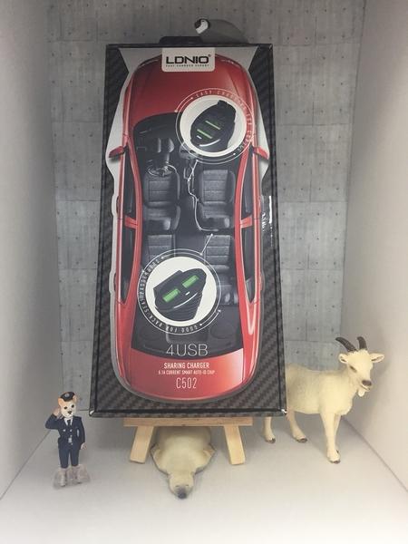 【LDNIO】力德諾 前+後 5.1A四口USB車充 C502 手機 蘋果 平板 通用 車載充電器
