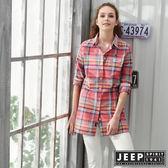 【JEEP】女裝洋裝式格紋長板襯衫-粉色