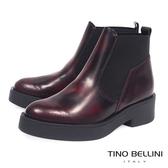 Tino Bellini義大利進口拼接結構牛皮厚底低跟短靴 _ 擦色紅  A69005 歐洲進口款