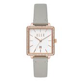 ELLE  Ile De La Cite 系列方型晶鑽腕錶-灰
