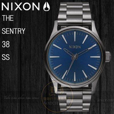 NIXON 實體店THE SENTRY 38 SS腕錶GUNMETAL / COBALT SUNRAY公司貨A450-2065/極限運動
