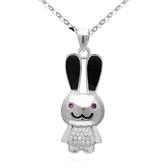 項鍊 925純銀鑲鑽吊墜-可愛小兔生日情人節禮物女飾品73dk249[時尚巴黎]