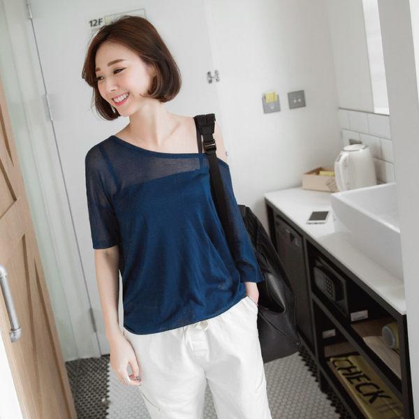 OB嚴選《FA0840-》絲光棉透膚素色寬圓領落肩長版上衣.10色--適 M~XL