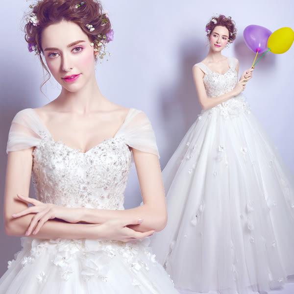 修身顯瘦遮手臂一字肩花朵蕾絲公主新娘修身齊地婚紗禮服2560t