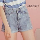 單寧 短褲 Space Picnic|小刷破反摺單寧牛仔短褲(現貨)【C19031077】