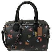 【COACH】C LOGO+花卉PVC手提斜背兩用波士頓包(黑)
