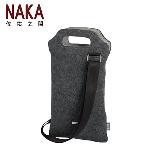 NAKA 佐佑之間 DIMENSIONS二度空間 雙支提手精美紅酒提袋(含肩帶)-金屬灰色 TOUCH0009LD