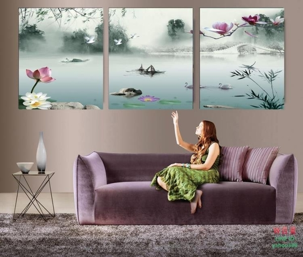 無框畫裝飾畫荷花風景沙發背景客廳臥室三聯壁畫水墨國畫