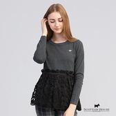 外層拼接蕾絲裙襬造型長袖針織上衣 Scottish House【Z1486】