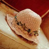 兒童款親子帽花環草帽寶寶遮陽帽唯美出游帽防曬韓國韓版草編手工