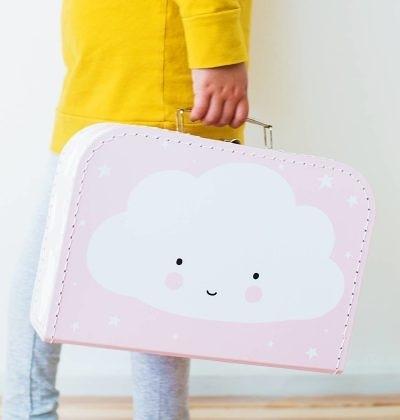 【荷蘭 A little lovely company】 療癒手提收納箱-粉紅微笑雲朵 #SCCLPI02