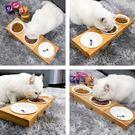 貓碗架15度斜口貓碗雙碗架貓盆食盆陶瓷貓咪用品 嬡孕哺