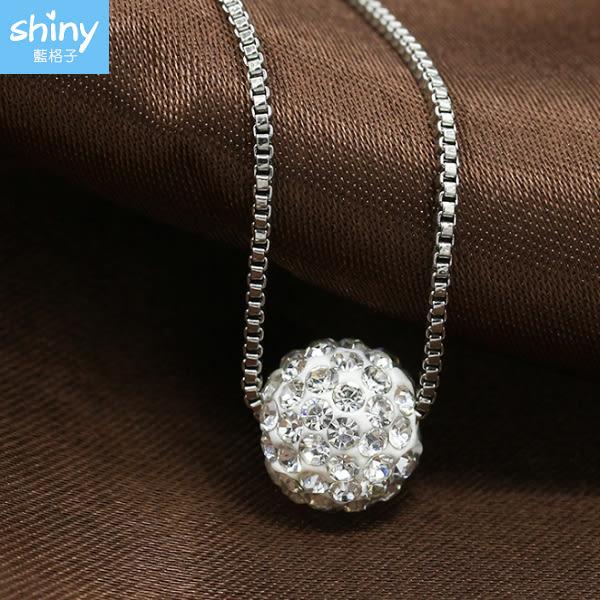 【33A55】shiny藍格子-閃亮獨特.時尚簡約鑲鑽球項鏈