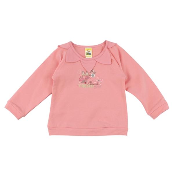 【愛的世界】彈性花瓣領束口長袖上衣/4歲/8歲-台灣製- ---秋冬上著