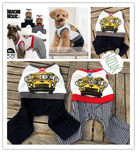 日本寵物衣服四腳連體服裝法斗巴哥雪納瑞泰迪比熊T恤胖奶狗服裝