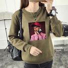 【GZ2C1】長袖T恤 個性頭像印花上衣 秋冬季新款加絨加厚寬鬆衛衣
