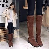 真皮長靴-帥氣復古皮帶扣騎士風低跟女靴子2色73iv50【時尚巴黎】