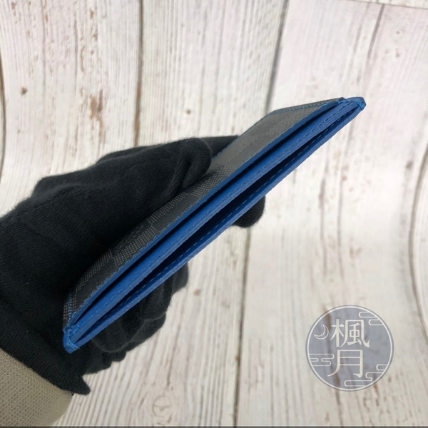 BRAND楓月 LOUIS VUITTON LV N64029 棋盤格藍邊卡片夾 精品 配件