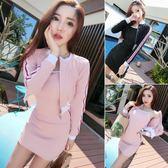 女套裝秋季時尚休閒撞色長袖開衫短外套 修身包臀吊帶裙 優樂居
