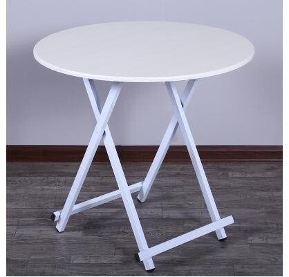 家用折疊桌多功能簡易吃飯桌子圓桌(白木紋 直徑58高54cm (白架))