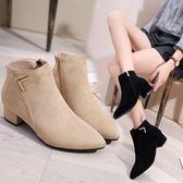 現貨 女鞋靴子秋冬季新款歐美尖頭粗跟低跟短靴磨砂側拉錬切爾西靴免運 11-27