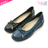 包鞋.MIT小蝴蝶結氣質楔型娃娃鞋.黑/藍.版型偏小【鞋鞋俱樂部】【028-7203】
