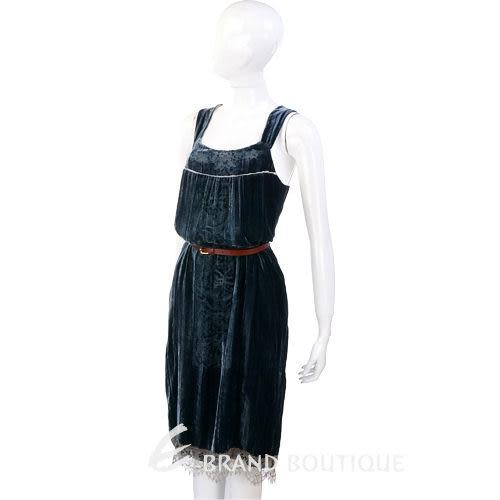 SCHUMACHER 藍綠色絨質拼接蕾絲洋裝(不含腰帶) 0630279-23
