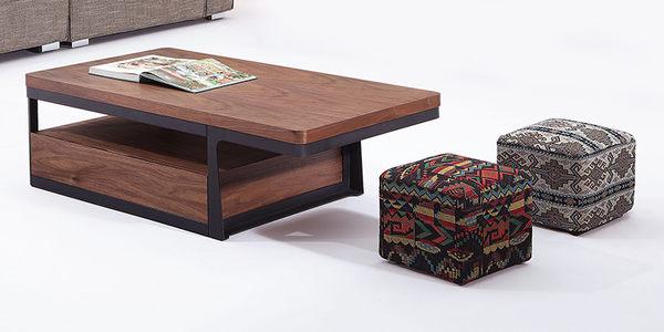 【森可家居】德克斯大茶几(附椅子2張) 7JX126-4
