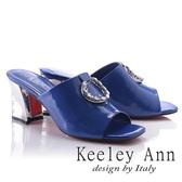 ★2018春夏★Keeley Ann天使光環~極淨色彩水鑽圓飾真皮粗中跟拖鞋(藍色) -Ann系列
