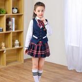兒童合唱服演出服裝中小學生朗誦校服男女童主持人錶演禮服英倫風 全館免運