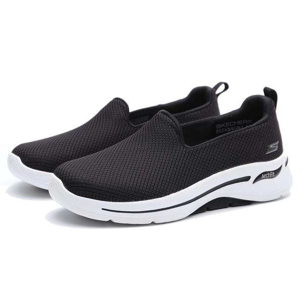 SKECHERS 休閒鞋 GO WALK 黑 寬楦 健走鞋 懶人鞋 女(布魯克林) 124401WBKW