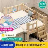 實木兒童床 帶護欄小床單人床男孩女孩公主床寶寶邊床加寬拼接大床jy【快速出貨免運八折】