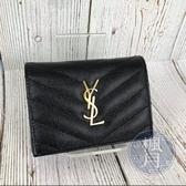BRABD楓月 SAINT LAURENT YSL 530841 V字縫線黑荔枝 金色經典LOGO 暗扣 二折短夾 錢包